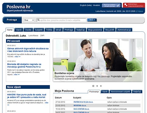 Poslovna.hr - the biggest business database in Croatia